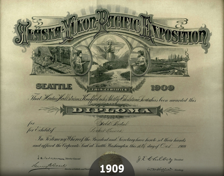 1909 EKAs Golden Medal at Alaska-Yukon Pacific Exhibition in Seattle Washington USA