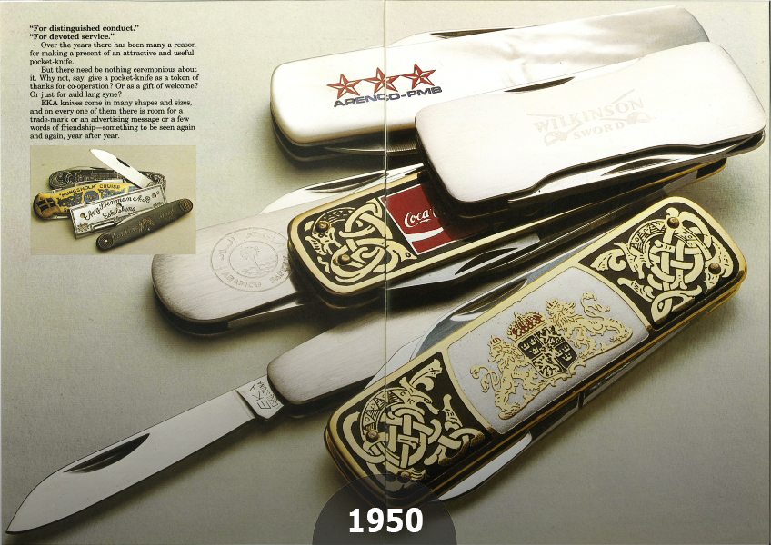 1950 Already all EKA knives can be marked with any logotype text or picture