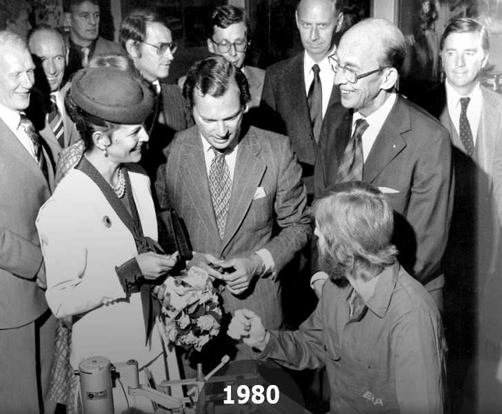 1980 The King Carl XVI Gustaf of Sweden and the Queen Silvia at a visit to EKAs factory