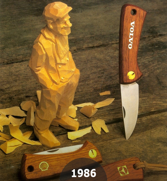1986 EKAs Swede 86 a unique folding knife with character made by 1 piece of Wooden skeleton