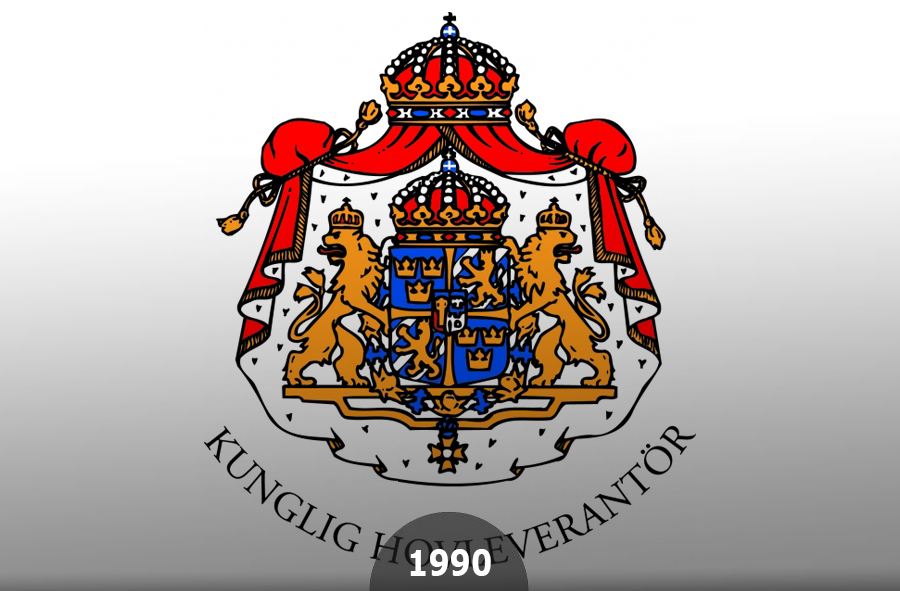 1990 A Royal Warrant Certificate has been awarded to EKA by the King Carl XVI Gustaf of Sweden
